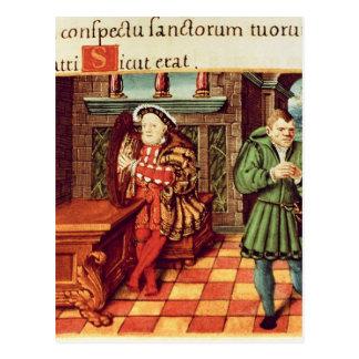 Henry VIII eine Harfe mit seinem Dummkopf spielend Postkarte