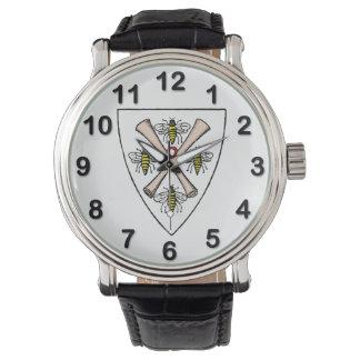 Heraldische Vintage 4 Bienen-Rollen auf Armbanduhr