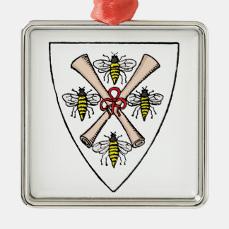 Heraldische Vintage 4 Bienen-Rollen auf Silbernes Ornament