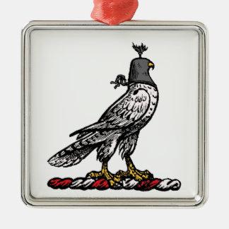 Heraldischer Jagd-Falke-tragende Sturzhelm-Haube C Silbernes Ornament