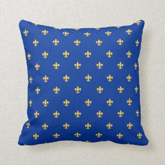 Heraldischer Lilly auf Königsblau-Hintergrund Kissen