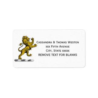 Heraldischer Löwe-stehendes Wappen-Emblem C Adressaufkleber