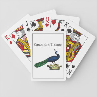 Heraldischer Vintager Stylized Pfau auf Krone C Spielkarten