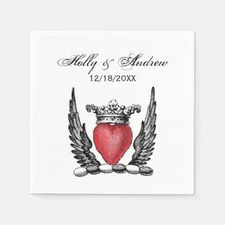 Heraldisches Herz mit Flügel-Wappen Wappen Servietten