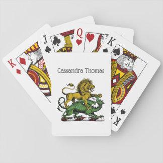 Heraldisches Löwe-und Drache-Wappen-Emblem Spielkarten