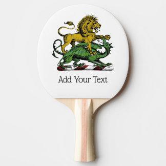 Heraldisches Löwe-und Drache-Wappen-Emblem Tischtennis Schläger