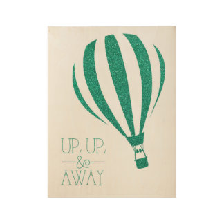 Herauf hohe u. weg Glitter-Heißluft-Ballon-Kunst Holzposter