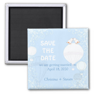 Herauf in das Luft-Baby-Blau, das Save the Date Quadratischer Magnet