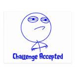 Herausforderung geltender blauer u. weißer Text Postkarten