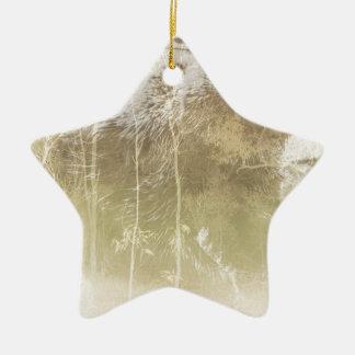 Herausgestellter Bär Keramik Stern-Ornament