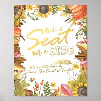Herbst-Ahorn-Blätter wählt einen Sitz nicht eine Poster