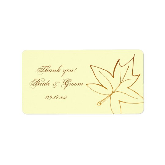 Herbst-Ahornblatt-Hochzeit danken Ihnen, Umbau zu Adressaufkleber