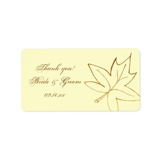 Herbst-Ahornblatt-Hochzeit danken Ihnen, Umbau zu Adressetikett