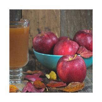 Herbst-Apfelwein und -äpfel Leinwanddruck