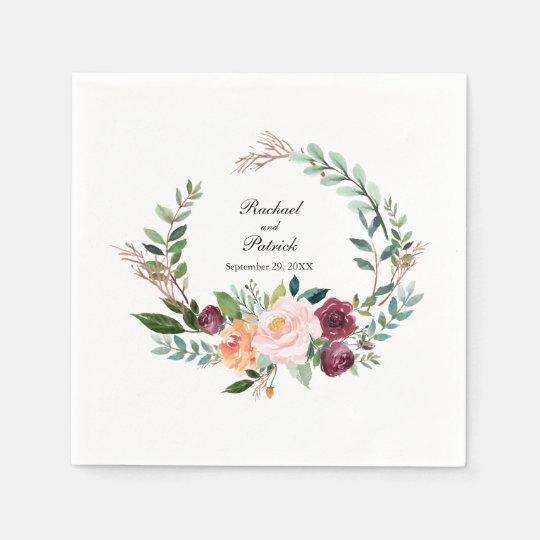 Herbst Aquarell Blumenkranz Hochzeit Serviette Zazzle