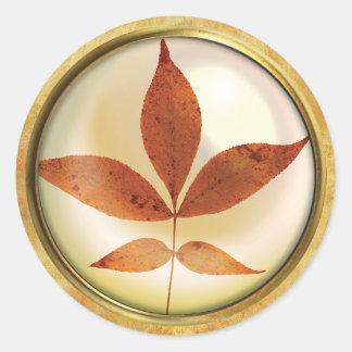 Herbst-Baum-Blatt-Rost Runder Aufkleber