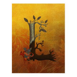 Herbst-Baum-Monogramm L Postkarte