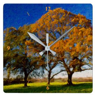 Herbst-Bäume Quadratische Wanduhr