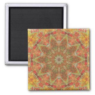Herbst-Blätter, abstrakte Magneten 2 Kaleidoskop Quadratischer Magnet