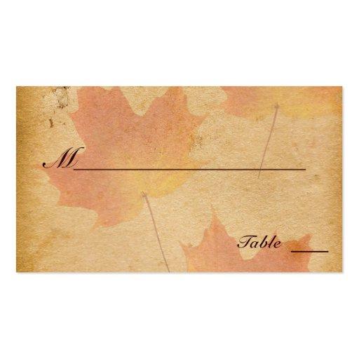 Herbst-Blätter auf gealterten PapierPlatzkarten Visitenkarte