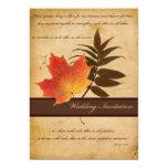 Herbst-Blätter auf gealterter Einladungen