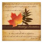 Herbst-Blätter auf gealterter quadratischer Individuelle Einladungskarte