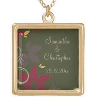 Herbst-Blätter auf grüner Hochzeit Halskette Mit Quadratischem Anhänger