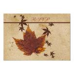 Herbst-Blätter auf IMITAT gealterter 8,9 X 12,7 Cm Einladungskarte