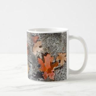 Herbst-Blätter auf Kalkstein Kaffeetasse