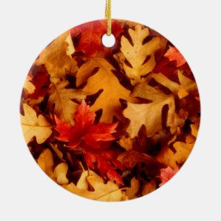 Herbst-Blätter - Fall-Farbe Rundes Keramik Ornament
