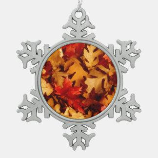 Herbst-Blätter - Fall-Farbe Schneeflocken Zinn-Ornament