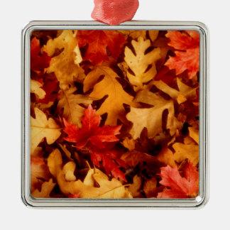 Herbst-Blätter - Fall-Farbe Silbernes Ornament