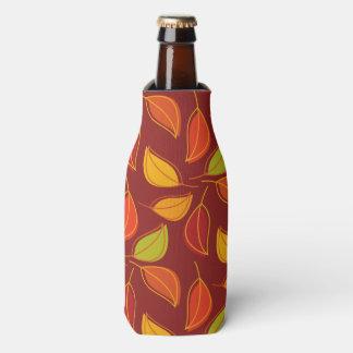 Herbst-Blätter, Fall-Laub - orange Gelb-Rot Flaschenkühler