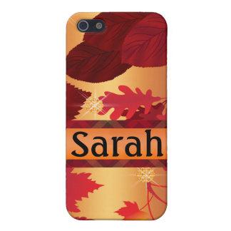 Herbst-Blätter-Gingham-Karo-Schimmer iPhone 5 Etuis
