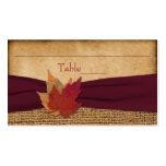 Herbst-Blätter, IMITAT Leinwand-Platzkarte - Wein Visitenkarten Vorlage