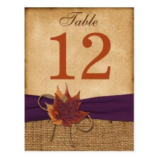 Herbst-Blätter IMITAT Leinwand-Tischnummer-Postka