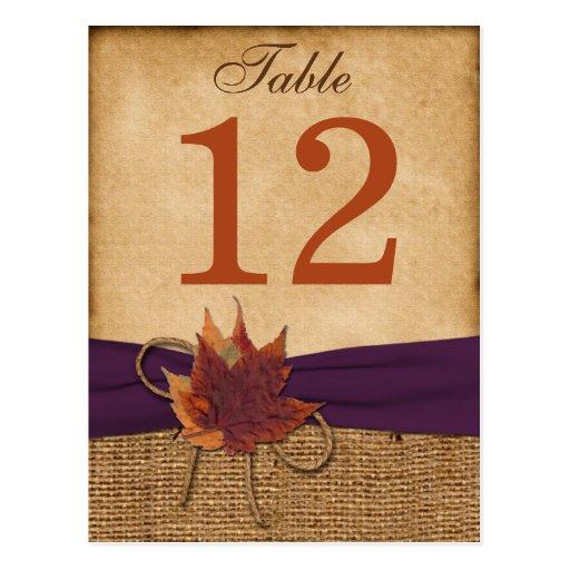 Herbst-Blätter, IMITAT Leinwand-Tischnummer-Postka Postkarten