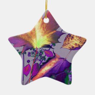 Herbst-Blätter in der Flieder Keramik Ornament