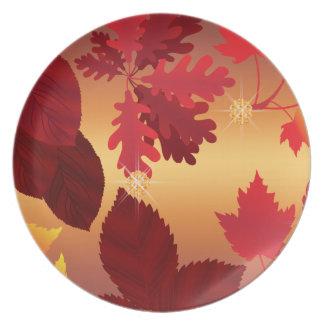 Herbst-Blätter-Juwel-Schimmer Teller