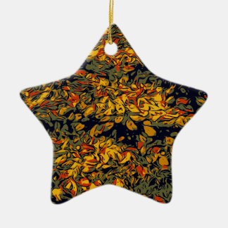 Herbst-Blätter Keramik Stern-Ornament