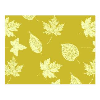 Herbst-Blätter - Senf und hellgelbes Postkarte