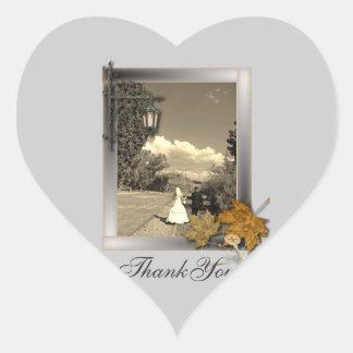 Herbst-Blätter steampunk Fall beim Liebe wedding Herz-Aufkleber