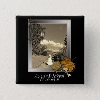 Herbst-Blätter steampunk Fall beim Liebe wedding Quadratischer Button 5,1 Cm