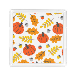 Herbst-Blätter und -kürbise Acryl Tablett