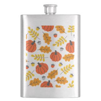 Herbst-Blätter und -kürbise Flachmann