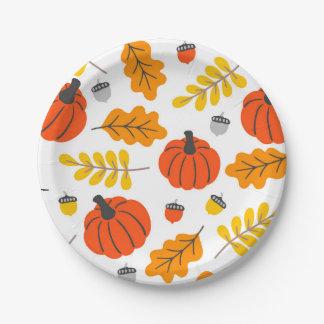 Herbst-Blätter und -kürbise Pappteller