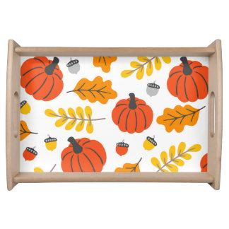 Herbst-Blätter und -kürbise Serviertablett