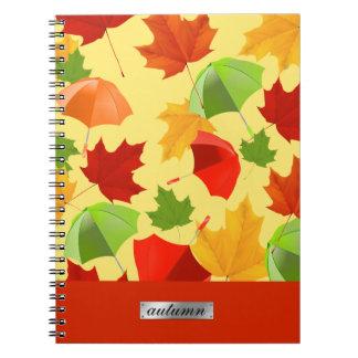 Herbst-Blätter und Regenschirme Notizblock