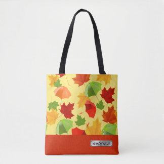 Herbst-Blätter und Regenschirme Tasche