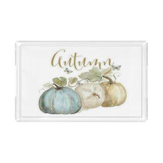 Herbst-blauer Kürbis-großes Serviertablett Acryl Tablett